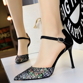 Pointed Toe Buckle Stiletto Heel Banquet Sandals