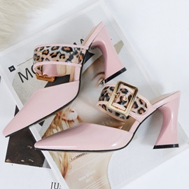 Slip-On Chunky Heel Closed Toe Patchwork Sandals