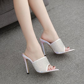 Metallic Stiletto Heel Slip-On Rhinestone Sandals
