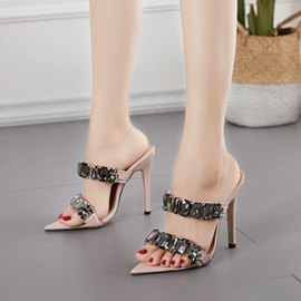 Stiletto Heel Slip-On Rhinestone Slippers