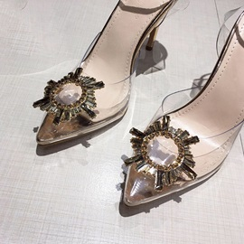 Stiletto Heel Pointed Toe Line-Style Buckle Prom Sandals