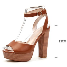 Line-Style Buckle Peep Toe Plain Sandals