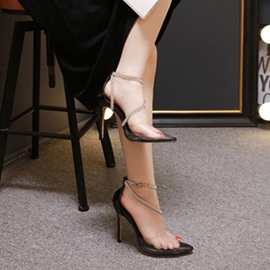 Thread Pointed Toe Stiletto Heel Casual Thin Shoes