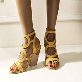 Chunky Heel Buckle Square Toe Hollow Sandals