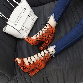 Heel Covering Lace-Up Chunky Heel Lace-Up Sandals