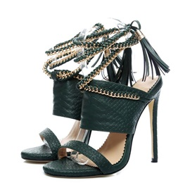 Open Toe Stiletto Heel Lace-Up OL Sandals