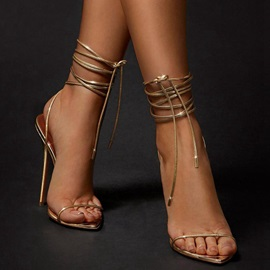 Lace-Up Stiletto Heel Open Toe Plain Sandals