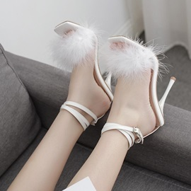 Square Toe Buckle Ankle Strap Thread Sandals