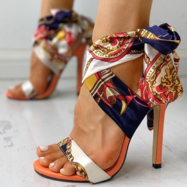 Strappy Stiletto Heel Pointed Toe Lace-Up Sandals