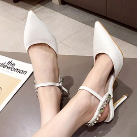 Pointed Toe Stiletto Heel Ankle Strap Low-Cut Upper Sandals