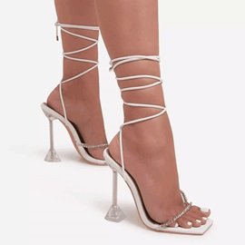 Spool Heel Lace-Up Open Toe Professional Sandals