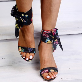 Open Toe Lace-Up Chunky Heel Floral Sandals
