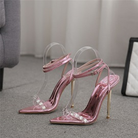 Round Toe Chunky Heel Line-Style Buckle Low-Cut Upper Sandals