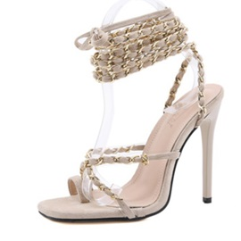 Square Toe Lace-Up Cross Strap Sandals