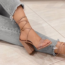 Chunky Heel Open Toe Lace-Up Patchwork Sandals