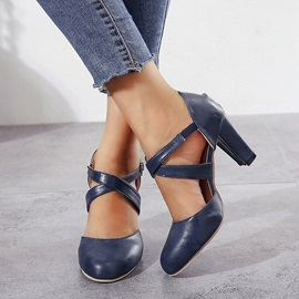 Chunky Heel Buckle Round Toe Casual Thin Shoes