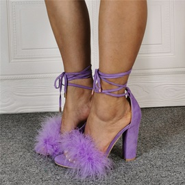 Round Toe Chunky Heel Lace-Up Feather Sandals