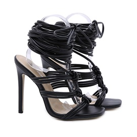 Lace-Up Stiletto Heel Square Toe Western Sandals