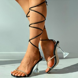 Spool Heel Open Toe Lace-Up Patchwork Sandals
