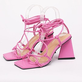 Open Toe Chunky Heel Lace-Up Professional Sandals