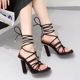Lace-Up Chunky Heel Open Toe Professional Sandals