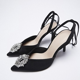 Pointed Toe Stiletto Heel Lace-Up Banquet Sandals