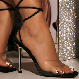 Stiletto Heel Lace-Up Open Toe Professional Sandals