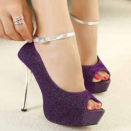 Sequin Studded Peep-Toe Ankle Strap Pumps