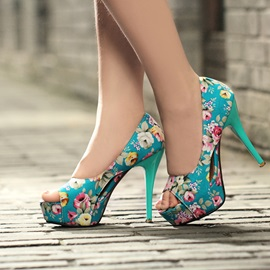 Print Hollow Peep-Toe Stiletto Heel Platform Sandals