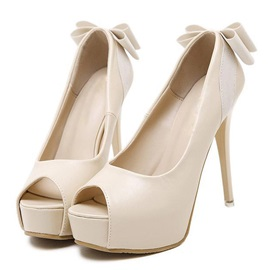 Bowtie Peep-Toe Stiletto Heel Pumps