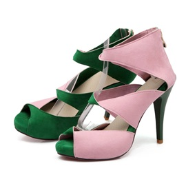 Color Block Cut-Out Peep-Toe Pumps
