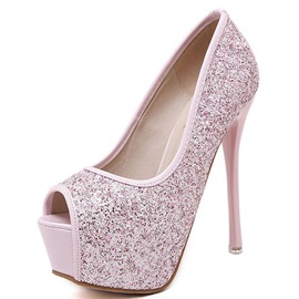 Sequins Peep-Toe Platform Prom Shoes