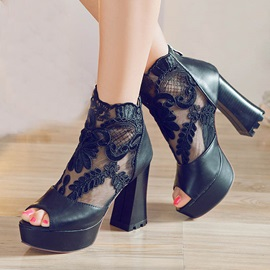 Lace Patchwork Peep-Toe Chunky Heel Pumps