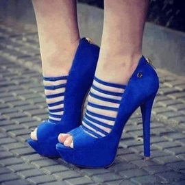 Solid Color Peep-Toe Stiletto Heel Sandals
