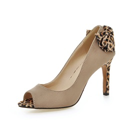 Leopard Printed Peep-Toe Pumps