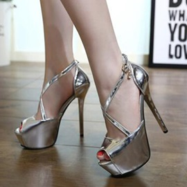 Metallic Peep-Toe Platform Sandals