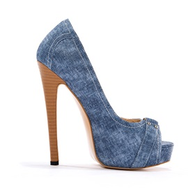 Denim Peep-Toe Stiletto Heel Pumps