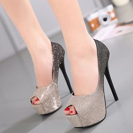 Sequin Slip-On Platform Peep Toe Women's Pumps