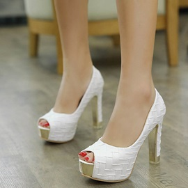 PU Plain Peep Toe Platform Slip-On Pumps