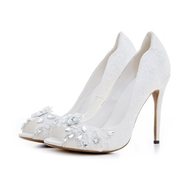 Lace Rhinestone Peep Toe Stiletto Women's Shoes