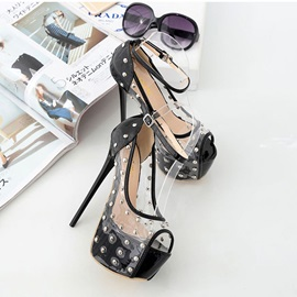 Stiletto Heel Peep Toe Buckle Ultra-High Heel Platform Pumps