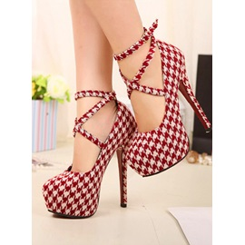 Fabulous Top Quality Round Toe Lace-Up Plaid Stiletto Platform Women Shoes