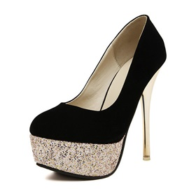 Sequin Round Toe Platform Stiletto Heel Pumps