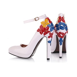 Floral Decorated Pointed Toe Ankle Strap Pumps