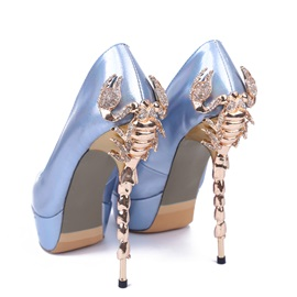 Peal Shiny Peep-toe Platform Pumps