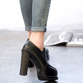 Solid Color Chunky Heel Platform Roman Shoes