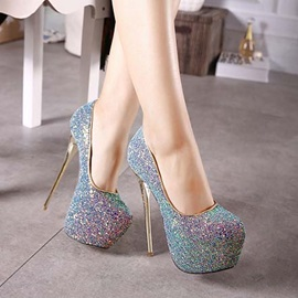 European Sequins Stiletto Heel Prom Shoes