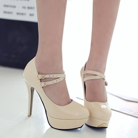 Solid Color PU Buckles Platform Heels