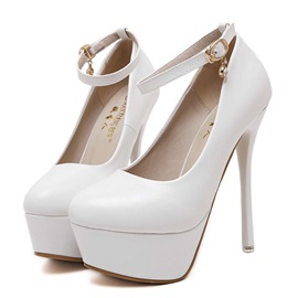 PU Stiletto Heel Platform Pumps