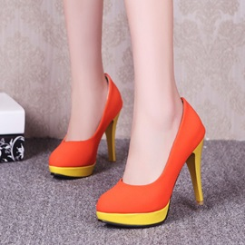 Color Block Suede Stiletto Heel Platform Pumps